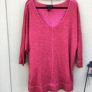 Lane Bryant Red Batwing Cotton Tunic Top Blouse